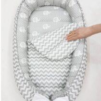 Cuibul pentru bebelusi Babynest   Elefanti gri cu zigzag