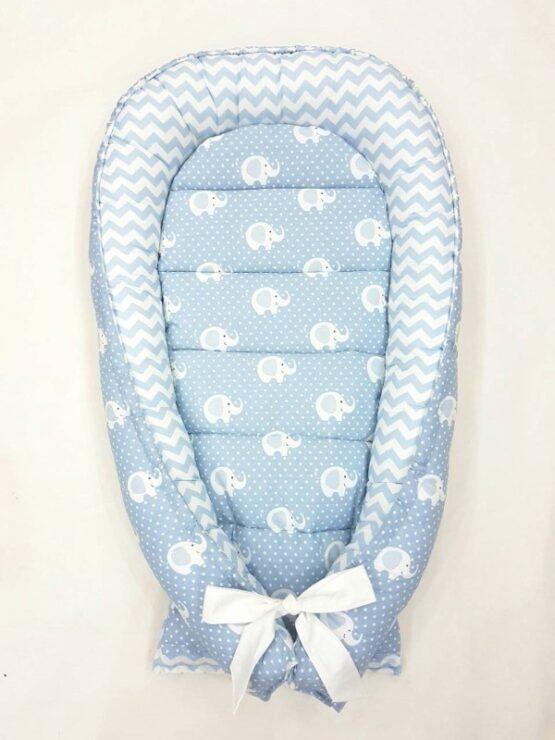 Cuibul pentru bebelusi Babynest  elefanti mentol cu zigzag