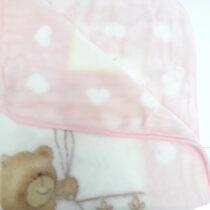 Coperta pentru copii ursulet roz