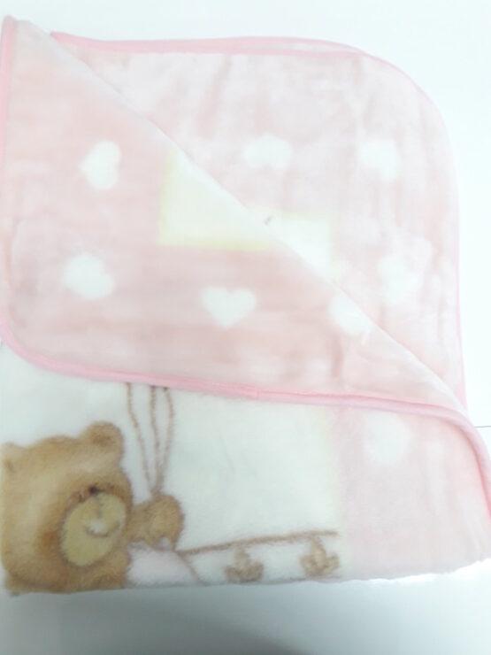 Плед для детей розовый мишка