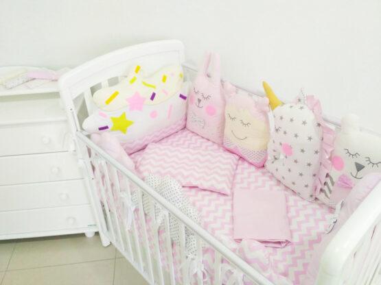 Set de lenjerie jucarii roz fin