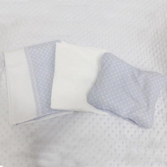 Lenjerie de pat pentru schimb, albastra, cu floricele
