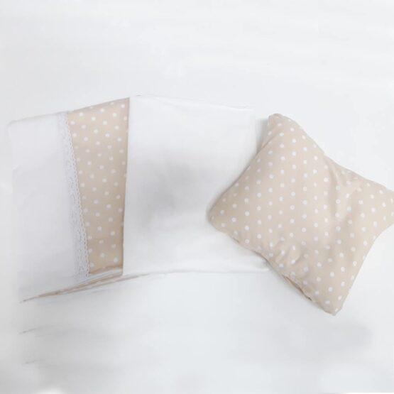 Lenjerie de pat pentru schimb, bej, cu buline