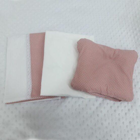Lenjerie de pat pentru schimb, culoarea pudra cu biline albe