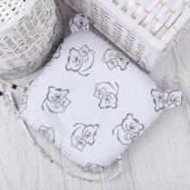 Pernă pentru nou-născuți cu suport pentru suzete Urși gri pe alb