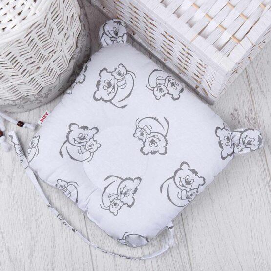Подушка для новорожденных с держателем для пустышки Серые мишки на белом