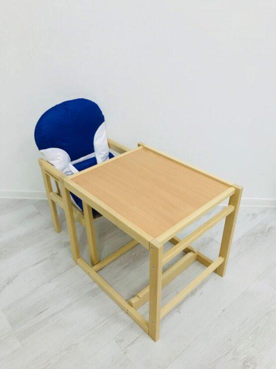 Стульчик деревянный светлый с пластиковым столиком Синий