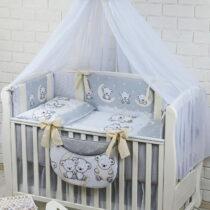 Комплект детской постели из 8-ми элементов «ASIK» Мишки на луне серо-кремовый