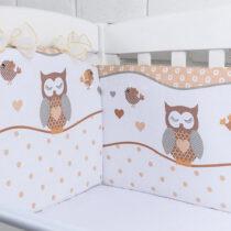 Бортики в кроватку Совушки коричневые