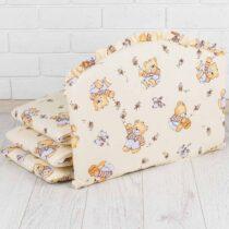 Бортики в кроватку Мишки с медом Бежевые