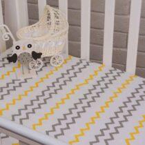 Бортики в кроватку Зигзаг и звезды серо-желтый