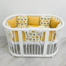 Комплект постельного белья для овальной кроватки 12 подушек