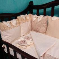 Set de lenjerie 12 pernute Mimikids Lux – Bej
