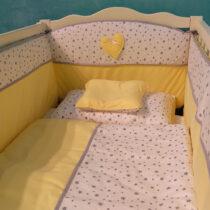 Комплект детской постели «Confort» Желтый с серыми звездочками