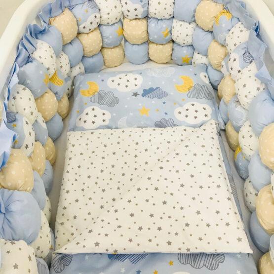 Set de lenjerie pentru pat oval albastru cu stelute 1