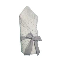 Конверт – Одеяло для новорожденных Белый со Серыми Звёздочками