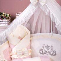 Детский комплект постели 9 элементов MimiKids Lux — Розовый