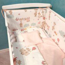Комплект детской постели 8 элементов Розовый с Жирафами