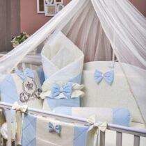Детский комплект постели 9 элементов MimiKids Lux — Синий