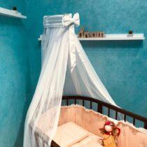 Baldachin pentru pat oval din tul Anie – Alb