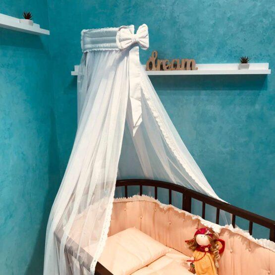 Балдахин тюлевый в овальную кроватку Anie — Белый