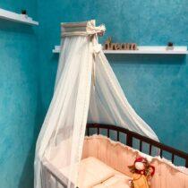 Baldachin pentru pat oval din tul Anie – Bej