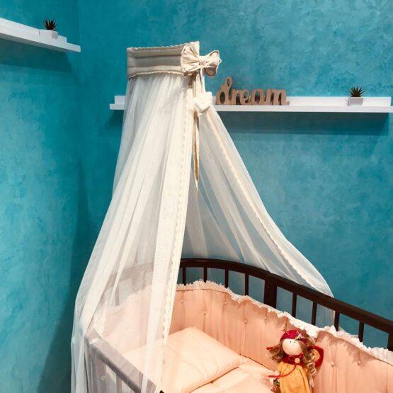 Балдахин тюлевый в овальную кроватку Anie — Бежевый