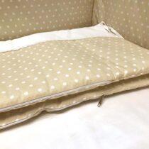 Бортики в кроватку розовые в горошек «Elegance» Бежевый с горошком