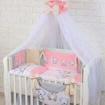 Комплект детской постели из 8-ми элементов «ASIK» Мишки на луне Розовый