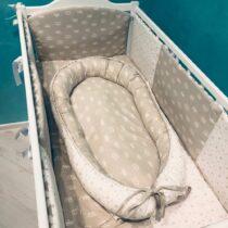 Комплект детской постели из 6-ми элементов Серый со звездами и коронами