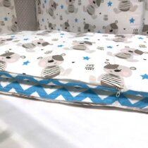 Protecție in patuc Cute Teddy – Zigzag albastru