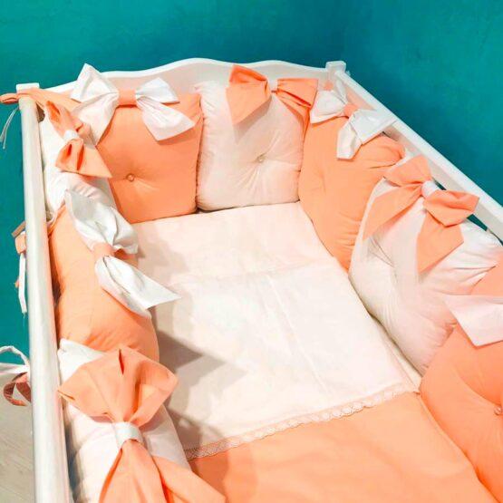 Набор детской постели в овальную кроватку BabyTerra Dream 12 подушек — Персик