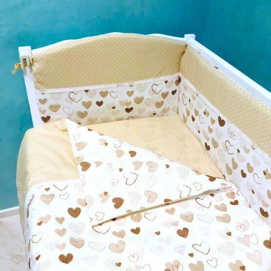 Set de lenjerie BabyTerra Dream Bej cu inimioare