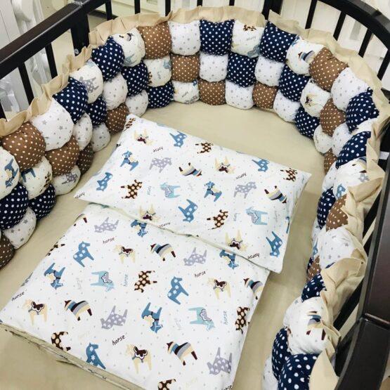 Set de lenjerie pentru pat oval BabyTerra Dream BomBon Albastru – Căluți