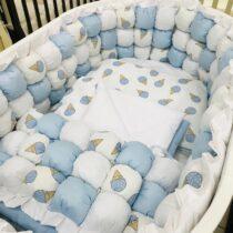 Set de lenjerie BabyTerra Dream BomBon Albastru – Înghețate
