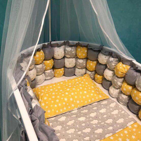 Set de lenjerie pentru pat oval BabyTerra Dream BomBon Galben cu nourași