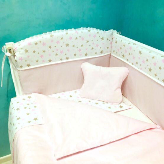 Комплект детской постели BabyTerra Dream Розовый со звездочками
