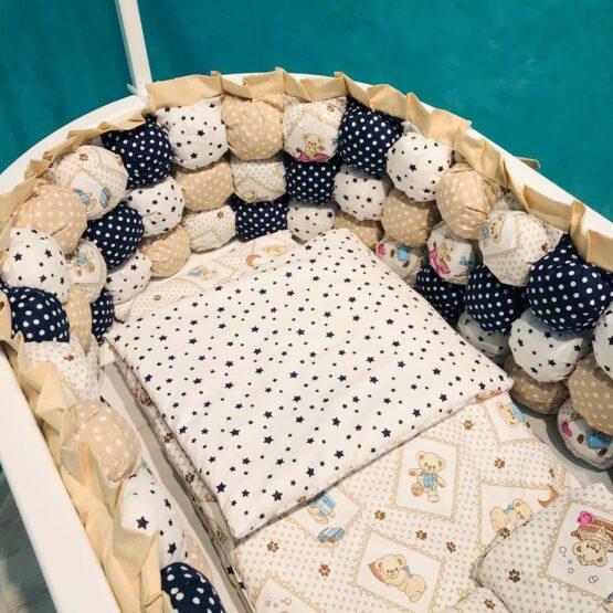 Set de lenjerie pentru pat oval BabyTerra Dream BomBon Ursuleți cu buline – Bej