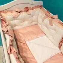 Комплект белья в овальную кроватку Сатин с кружевом — Бело-розовый