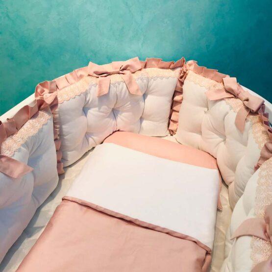 Set de lenjerie pentru pat oval Satin cu dantela roz cu alb