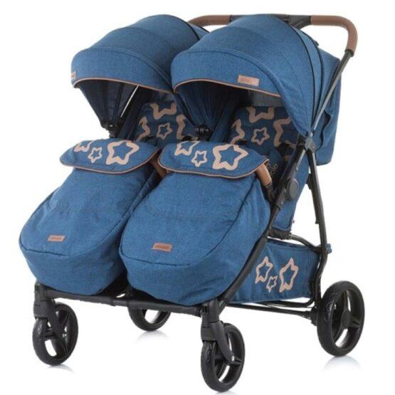 Carucior pentru gemeni Chipolino Passo Doble albastru